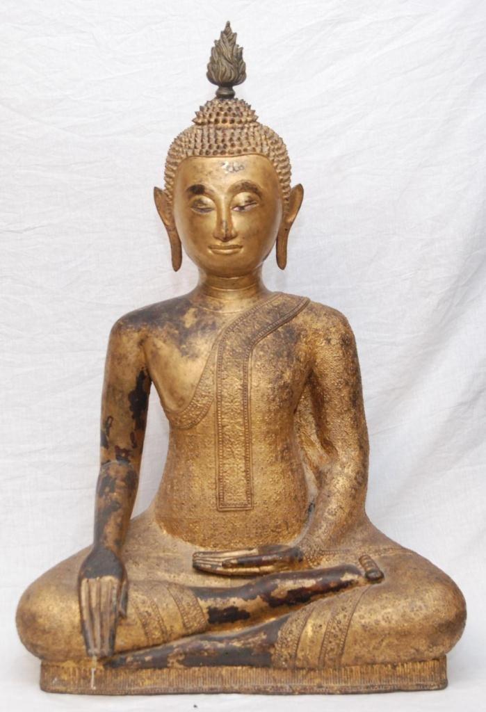 408: 18th/19th C THAI GILT & LACQUERED BRONZE BUDDHA