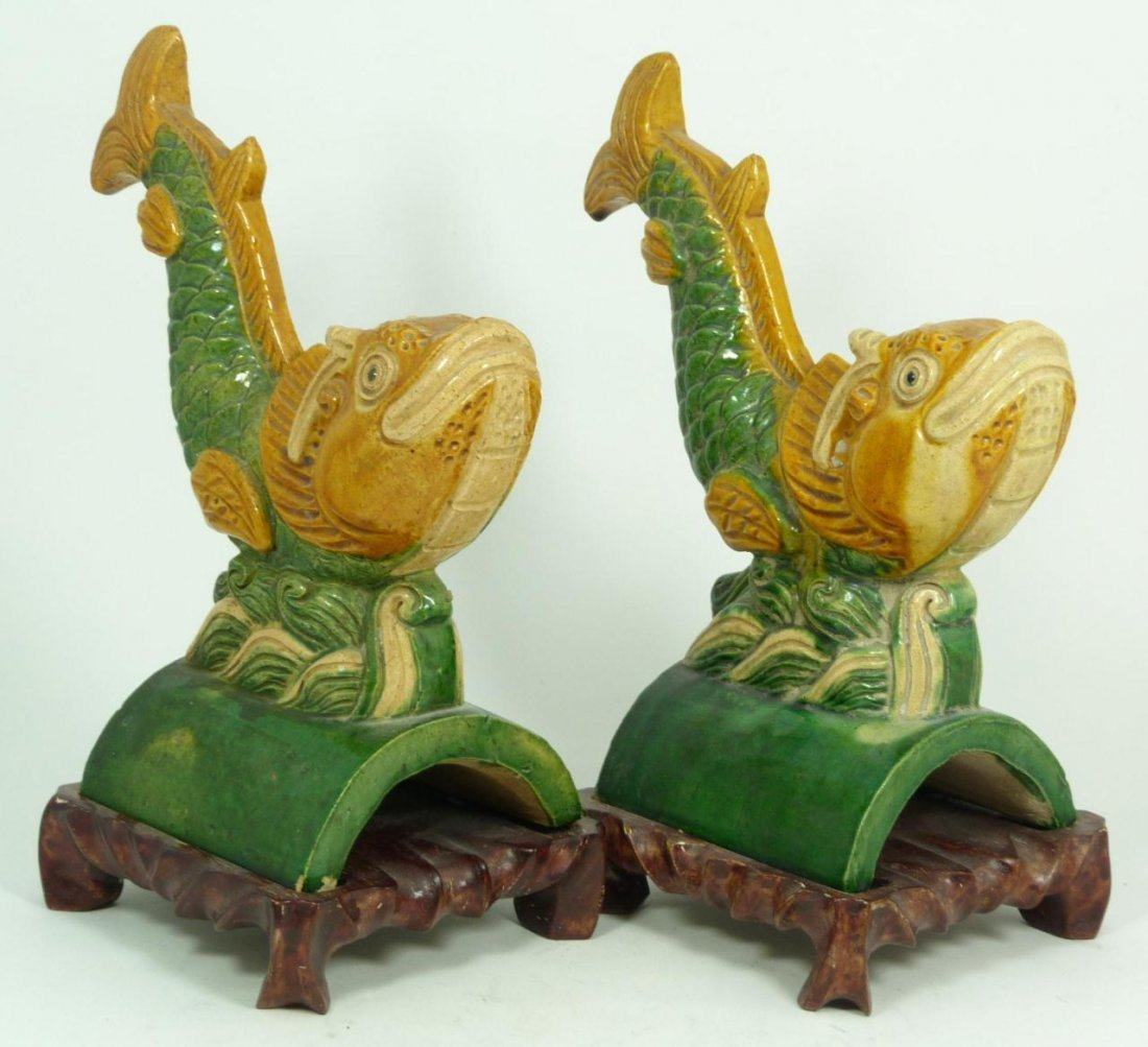 402: Pr OF CHINESE MING DYNASTY GLAZED CARP ROOF TILES