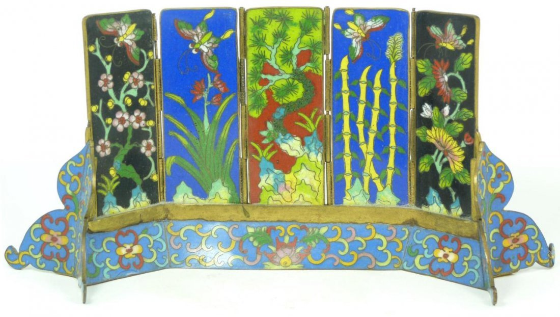 407: 19th C CHINESE CLOISONNE SCHOLAR'S STAND