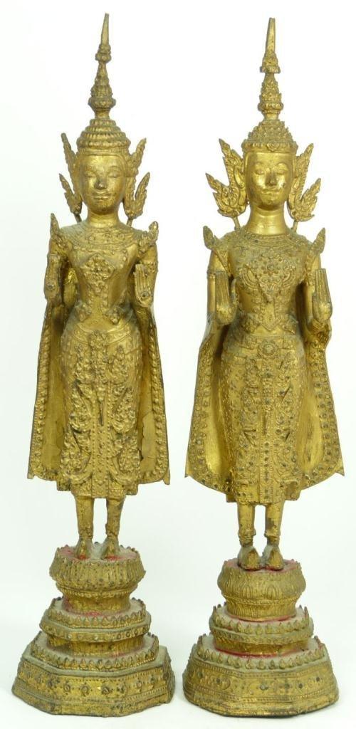 409: Pr OF 18th C GILDED BRONZE STANDING BUDDHAS