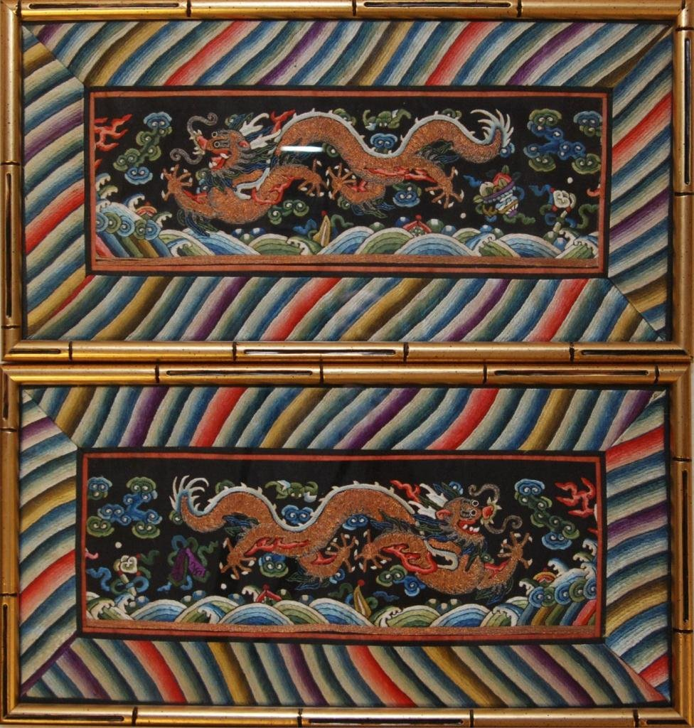 420: Pr OF CHINESE MULTICOLOR & GOLD THREAD CUFFS