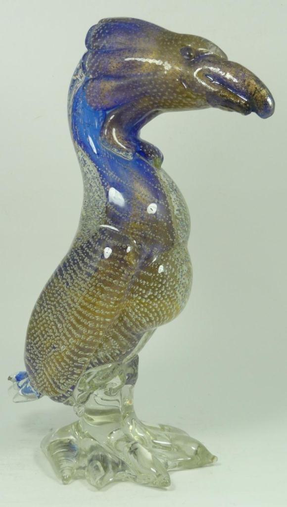 4: MURANO GLASS GOLD FLECKED DODO BIRD SCULPTURE