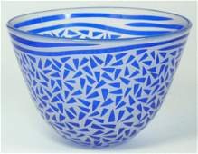 5: FROSTED AND COBALT ART GLASS BOWL SIGNED
