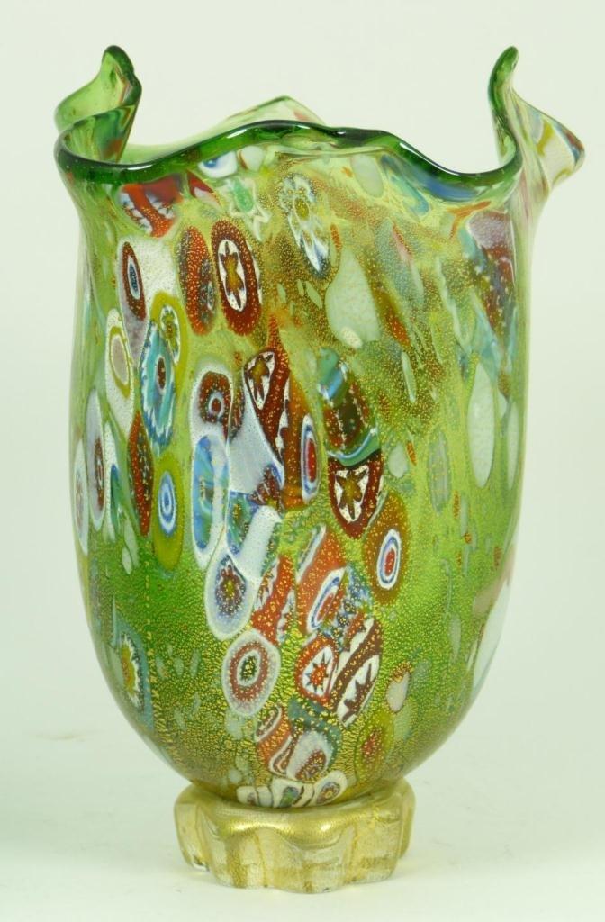 6: MILLEFIORI FLORAL ART GLASS VASE SIGNED NUMBERED