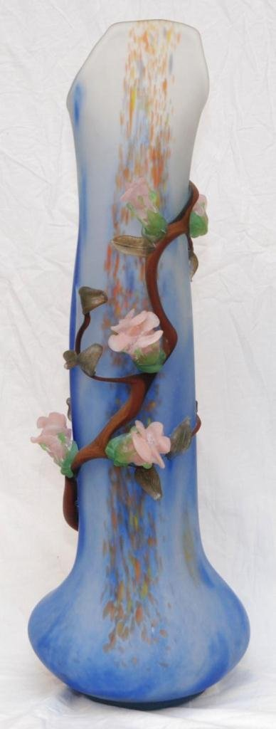 9: LARGE FROSTED ART GLASS FLORAL VASE SIGNED