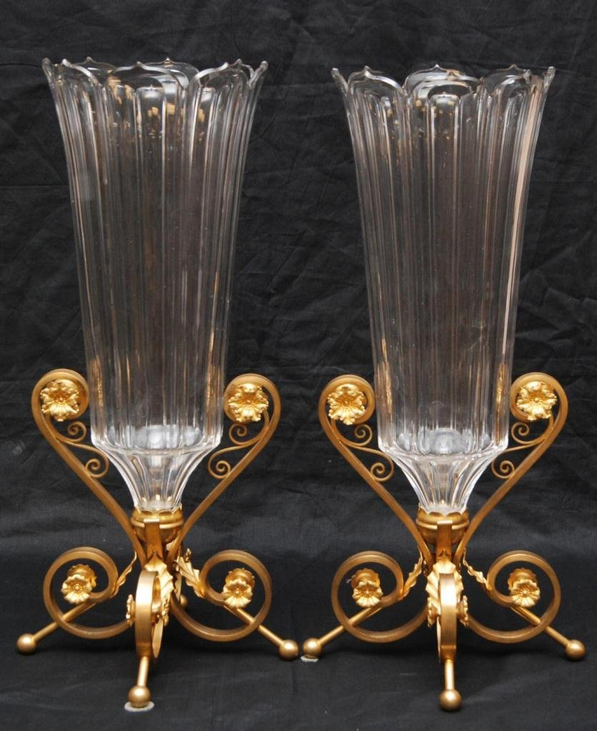 10: PAIR BACCARAT FRANCE LUSTERS ON BRONZE MOUNTS