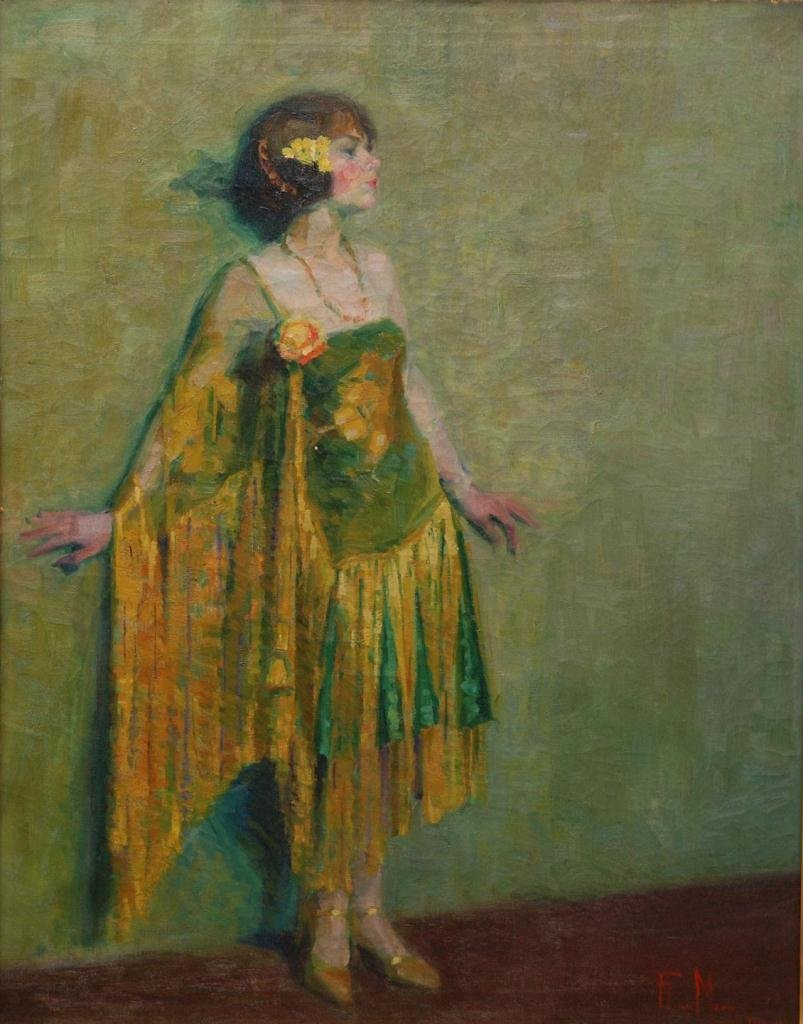 94: F. LUIS MORA OIL PAINTING ON CANVAS OF DECO WOMAN