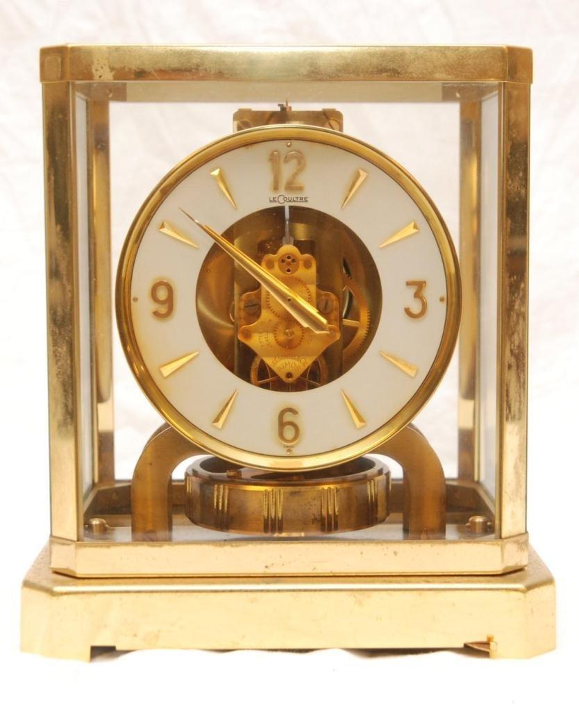 270: LE COULTRE BRASS MANTLE CLOCK w GLASS CASE