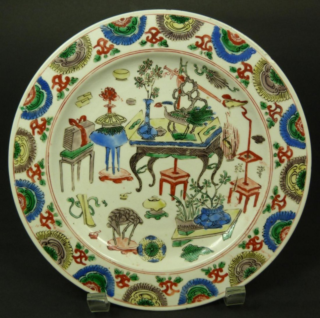 1: 17th/18th CENTURY CHINESE FAMILLE VERTE PLATE