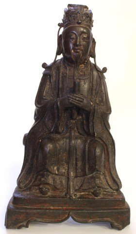 194: CHINESE MING DYNASTY BRONZE OF SEATED ELDER