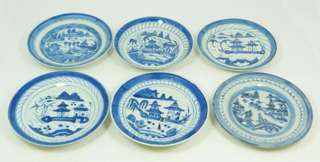 9: 6 CHINESE BLUE & WHITE PORCELAIN ROUND PLATES