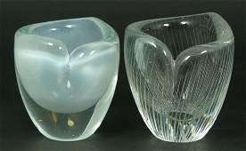 20 2 TAPIO WIRKKALA FINNISH STUDIO ART GLASS BOWLS