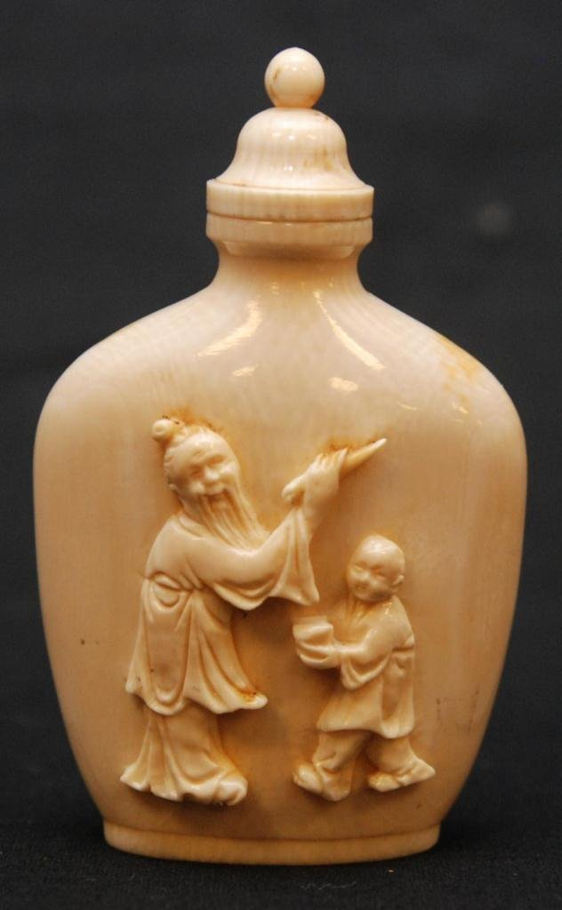 15: CHINESE HIGH RELIEF CARVED IVORY SNUFF BOTTLE
