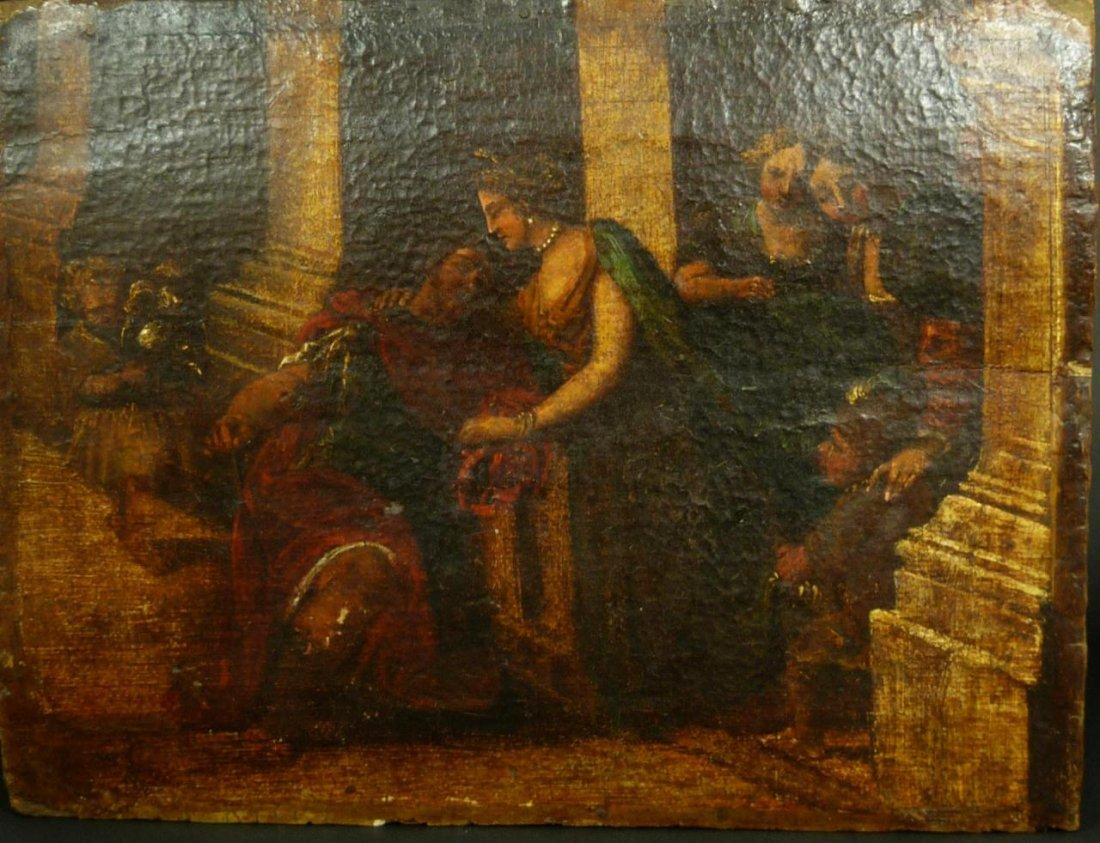416: 17th C OIL PAINTING ON PANEL OF WOMAN HELPING MAN