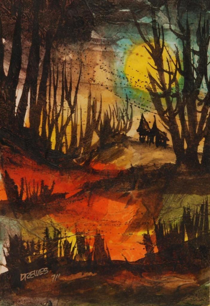420: WERNER DREWES WATERCOLOR ON PAPER OF FOREST SCENE