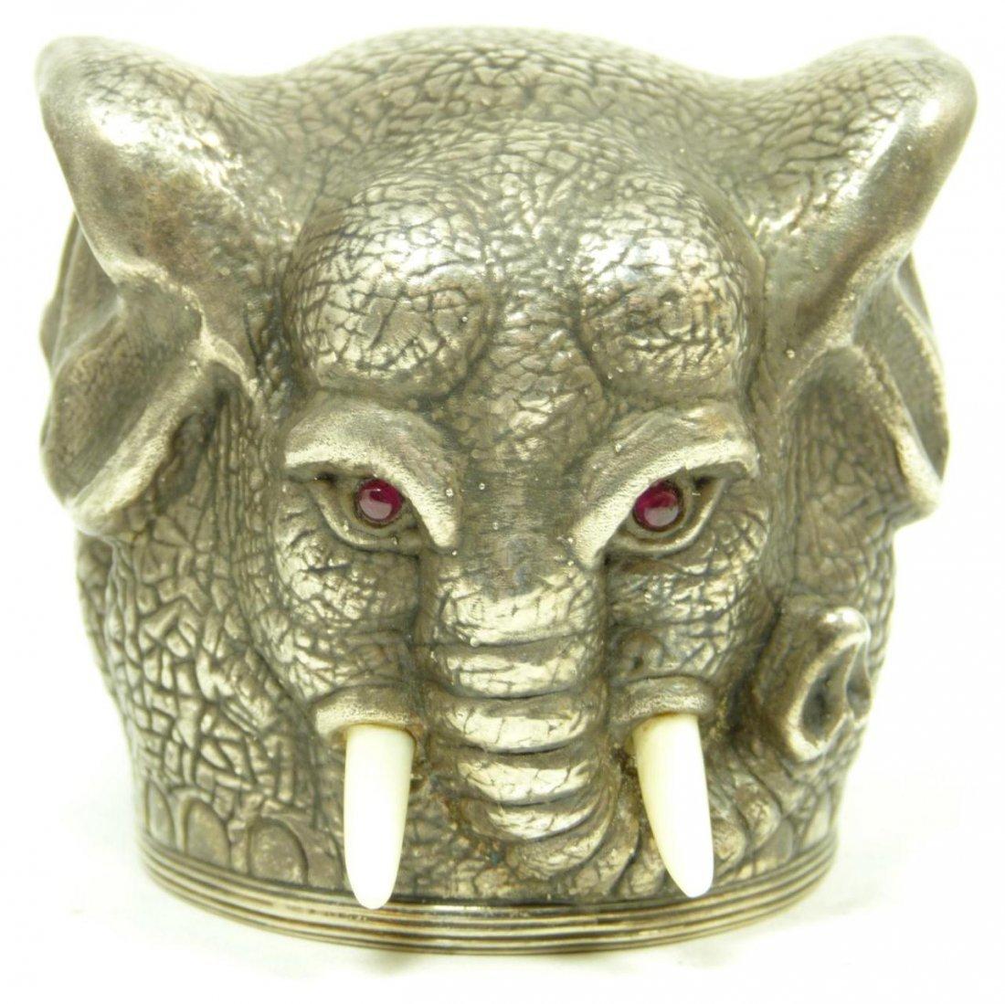 426: RUSSIAN SILVER ELEPHANT SHOT GLASS RUBY IVORY - 3