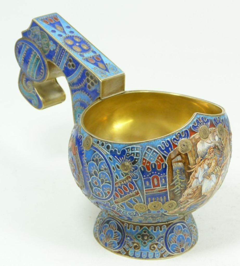 500: RUSSIAN ENAMELED SILVER KOVSH WITH MINIATURE