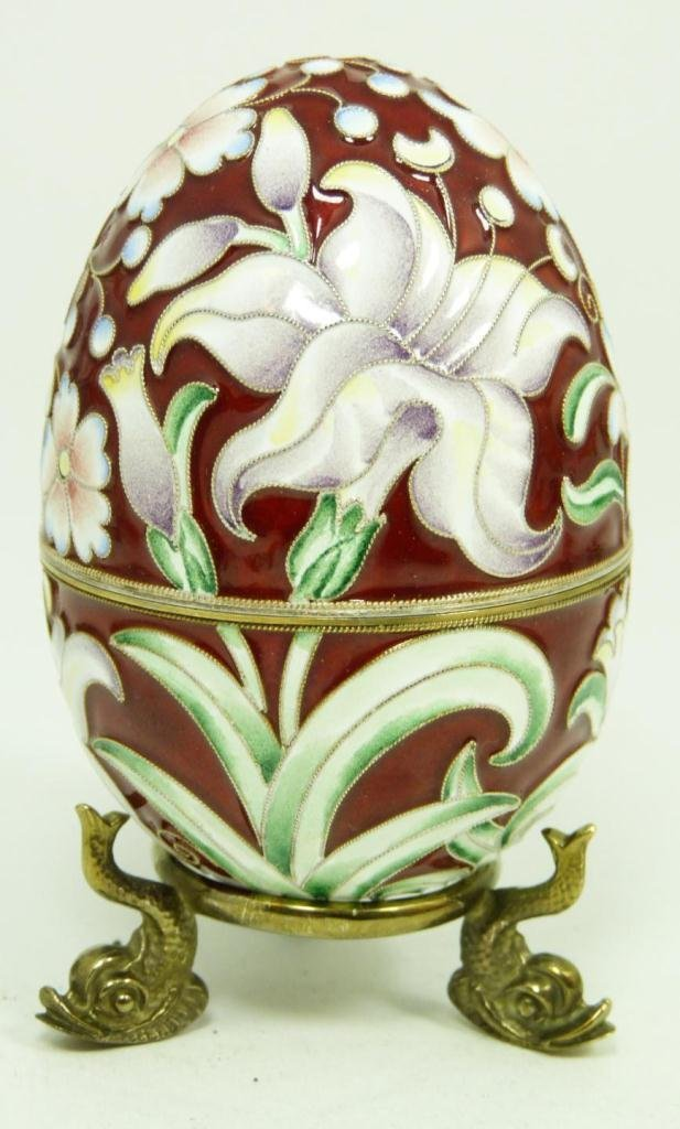 401: IMPERIAL RUSSIAN ENAMELED SILVER FLORAL EGG