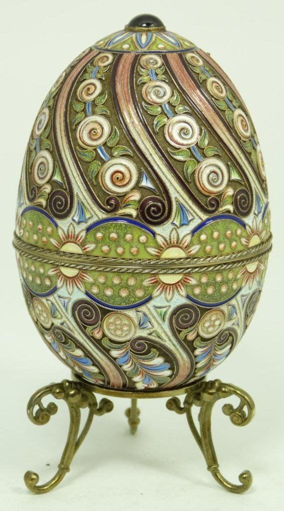 405: RUSSIAN SILVER ENAMELED AND JEWELED EGG BOX