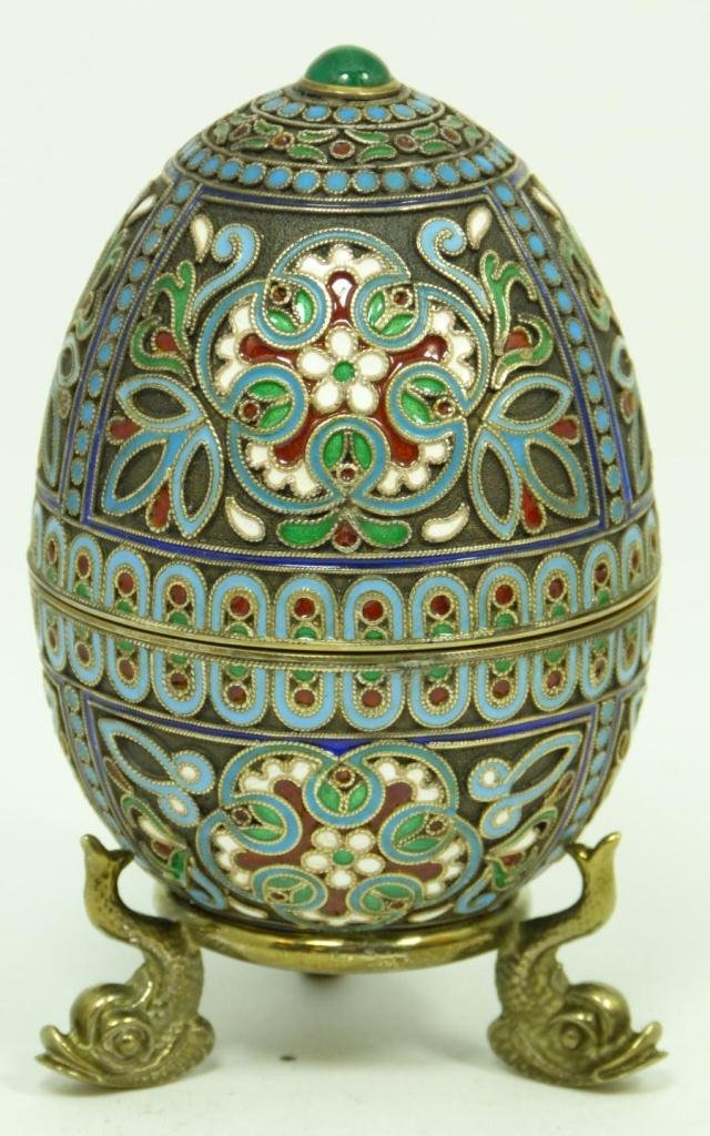 411: RUSSIAN SILVER ENAMELED JEWELED EGG BOX