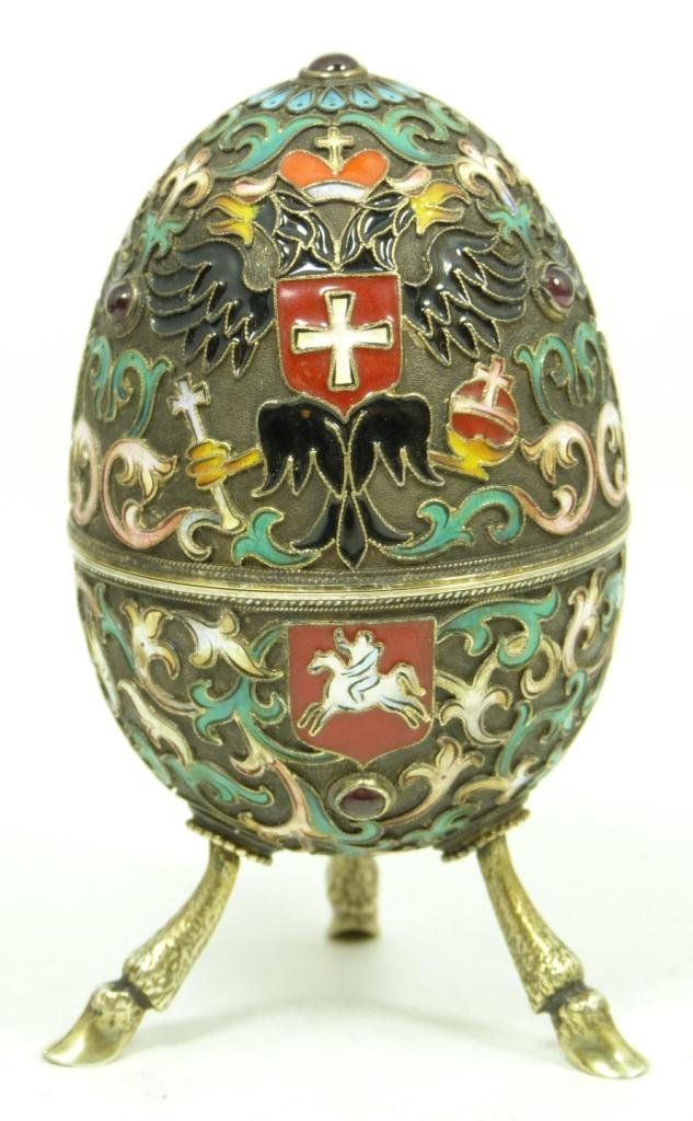 413: RUSSIAN SILVER FIGURAL JEWELED FOOTED EGG BOX