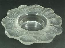 445: LALIQUE FRENCH CRYSTAL 'HONFLEUR' CANDY BOWL