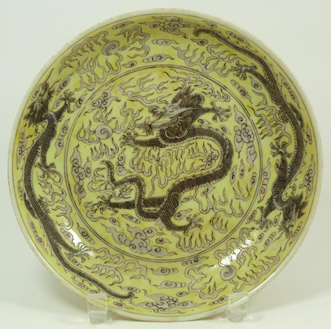 8: 19th C CHINESE GRISAILLE ENAMELED DRAGON BOWL