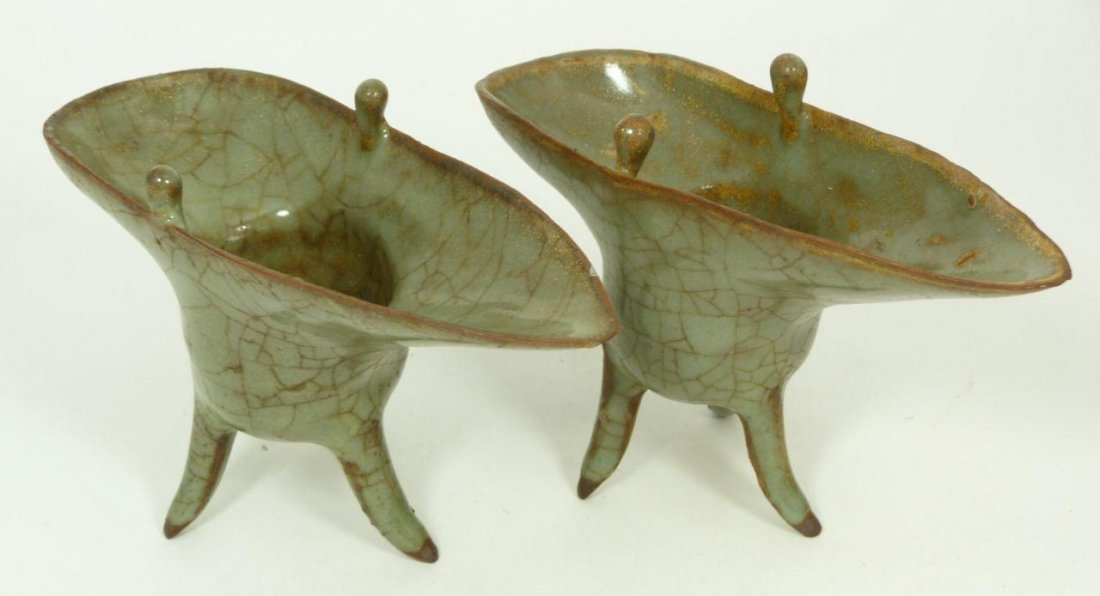 9: PAIR OF 18th C CHINESE POTTERY WINE CUPS