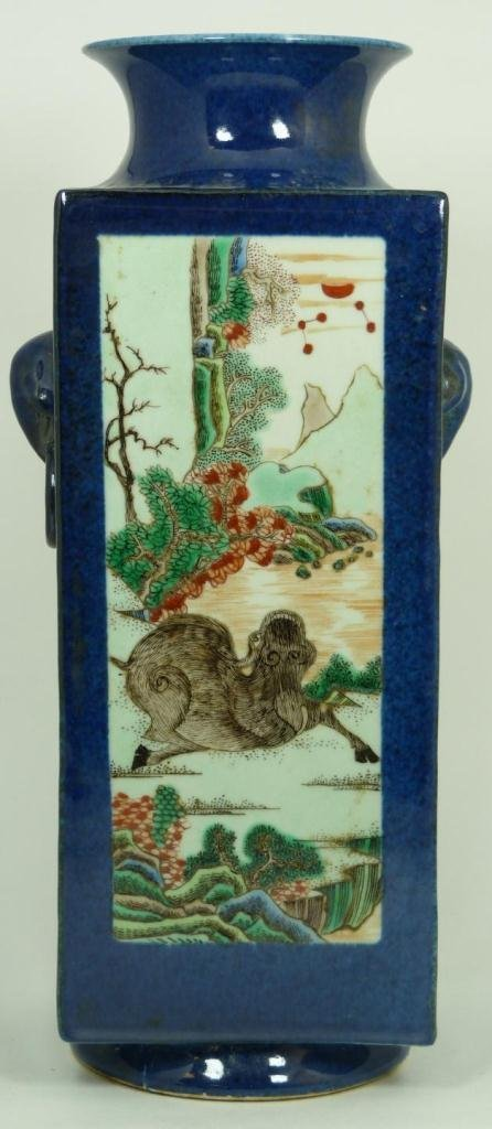 19: 19th C CHINESE WUCAI PORCELAIN CONG VASE W/ DEER