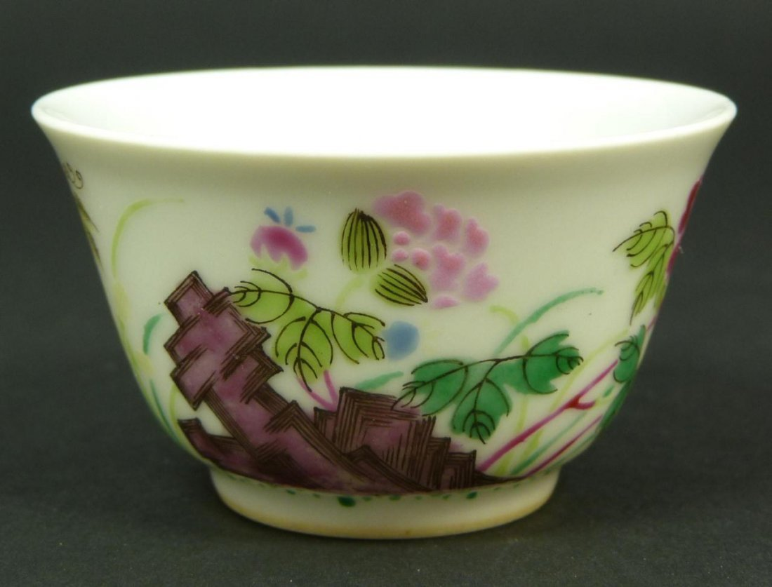22: 18th C CHINESE FAMILLE ROSE PORCELAIN TEA BOWL