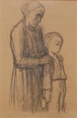 34: KATHE KOLLWITZ CHARCOAL/PAPER OF WOMAN & CHILD