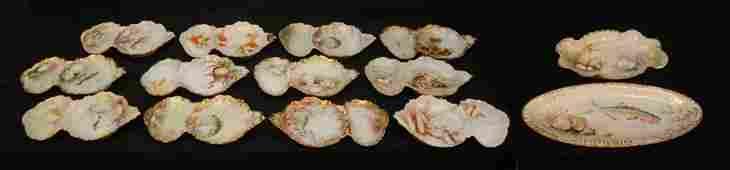 117: 14 PIECE LIMOGES HAND PAINTED PORCELAIN FISH SET