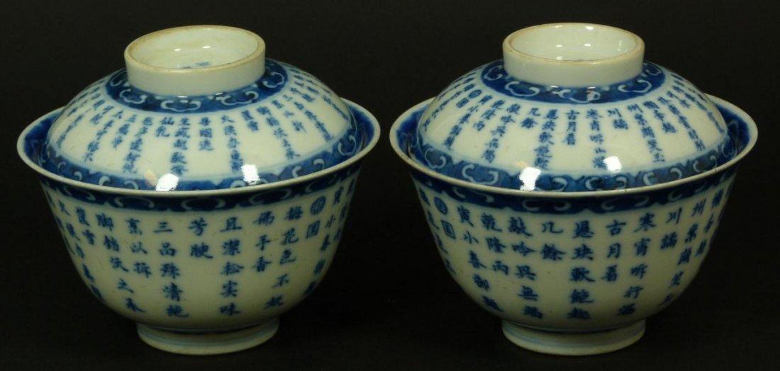 181: Pr 19th C CHINESE BLUE & WHITE PORCELAIN TEA BOWLS