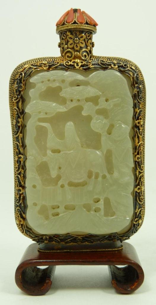 279: CHINESE INLAID JADE & SILVER SNUFF BOTTLE W/ CORAL