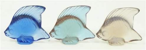 207: 3 LALIQUE FISH FIGURINES