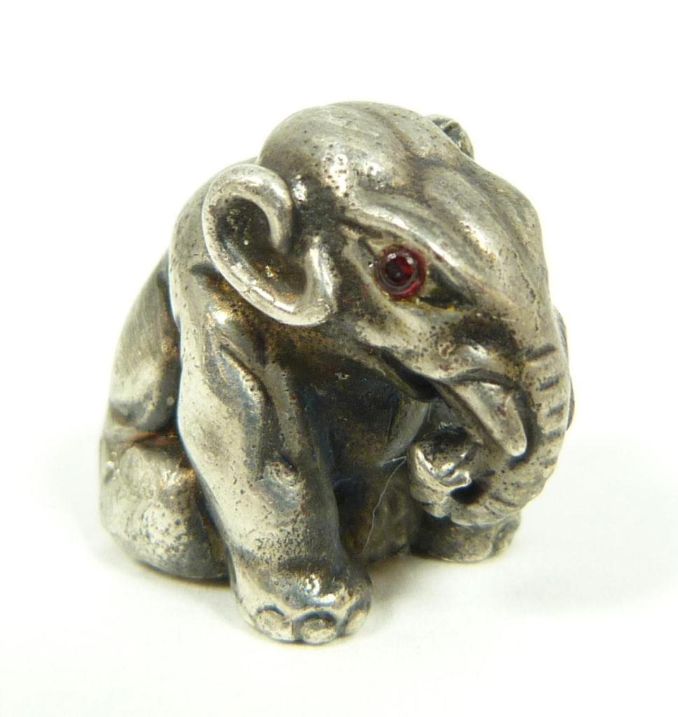 RUSSIAN SILVER SEATED ELEPHANT FIGURE