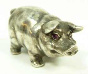 IMPERIAL RUSSIAN SILVER PIG FIGURE