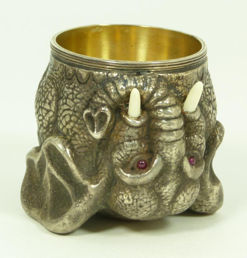 RUSSIAN SILVER ELEPHANT SHOT GLASS RUBY IVORY