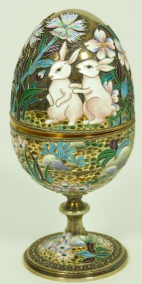 RUSSIAN SILVER ENAMELED EGG BOX WITH RABBITS