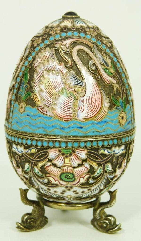 RUSSIAN SILVER JEWELED & ENAMELED EGG BOX