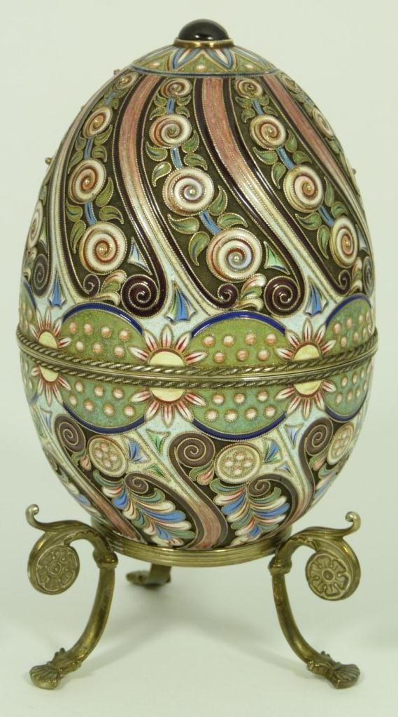 RUSSIAN SILVER ENAMELED AND JEWELED EGG BOX