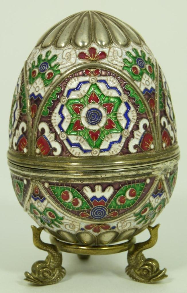 JEWELED RUSSIAN ENAMELED SILVER EGG BOX RUCKERT