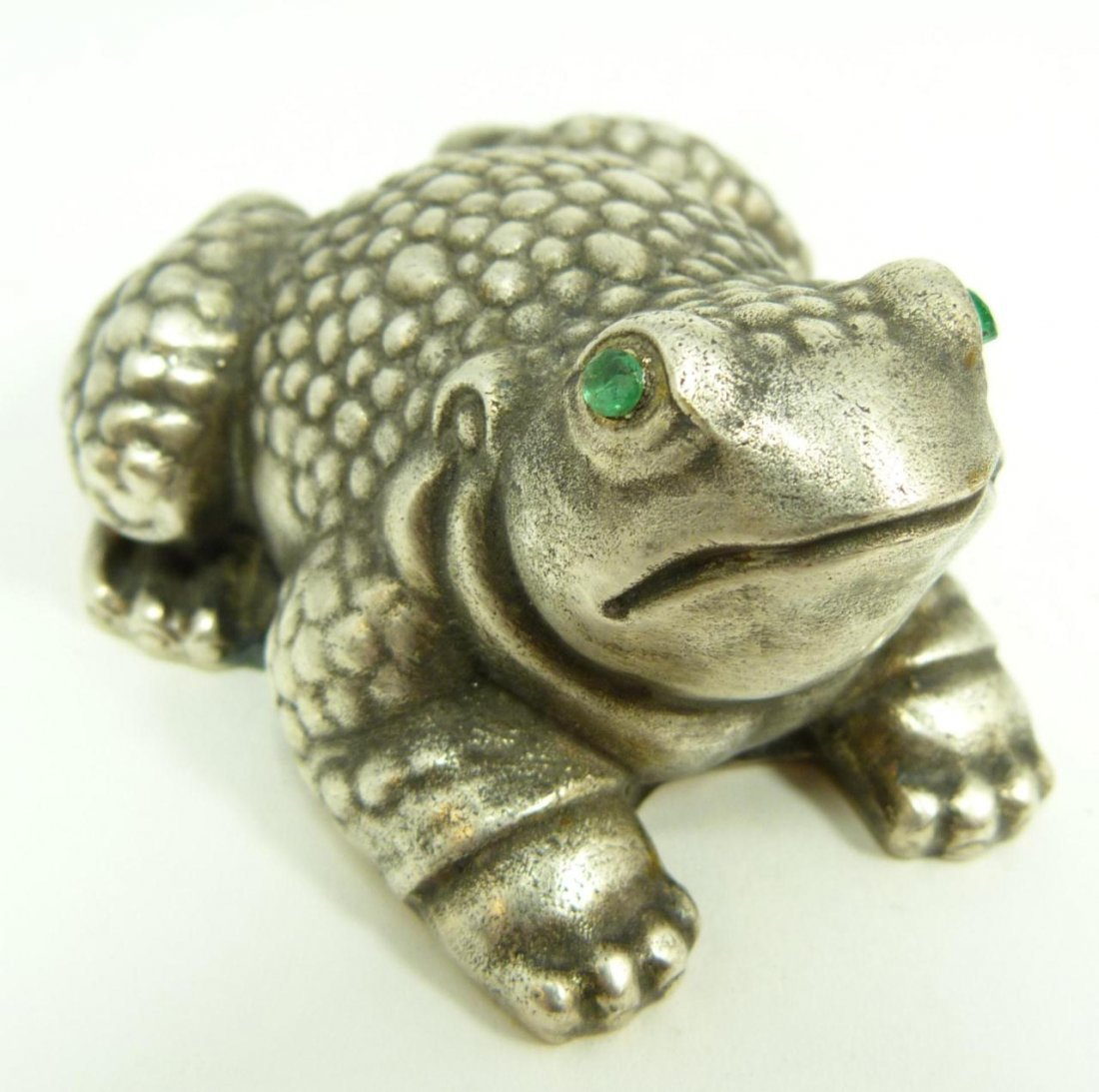 RUSSIAN SILVER JEWELED FROG FIGURINE