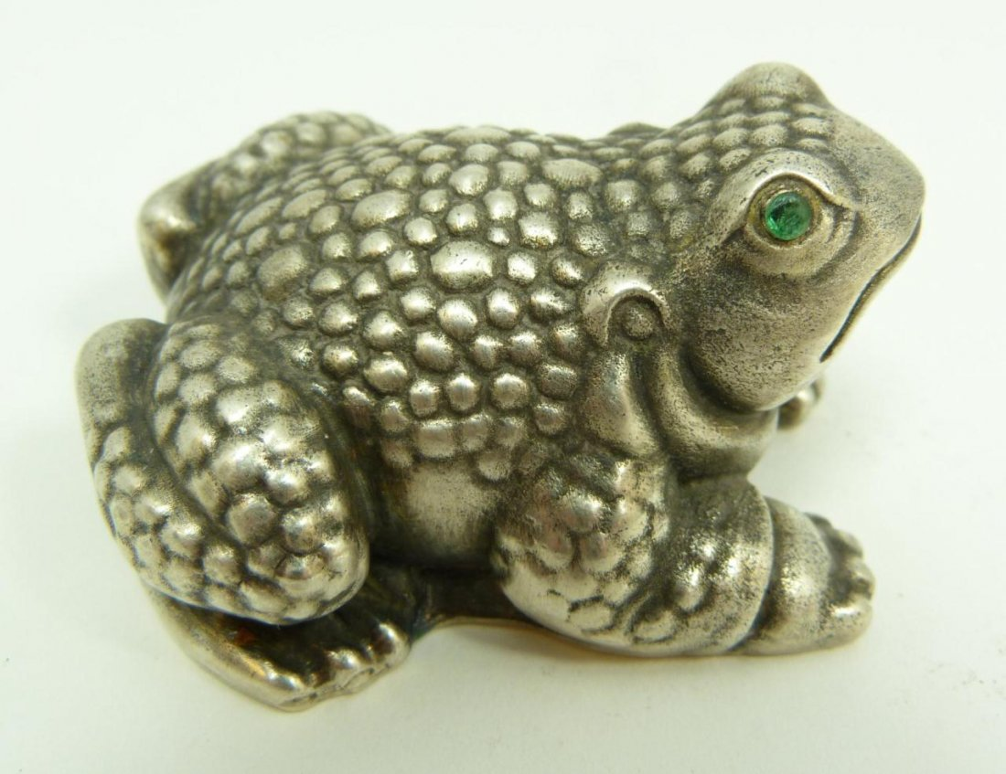 RUSSIAN SILVER JEWELED FROG FIGURINE - 2