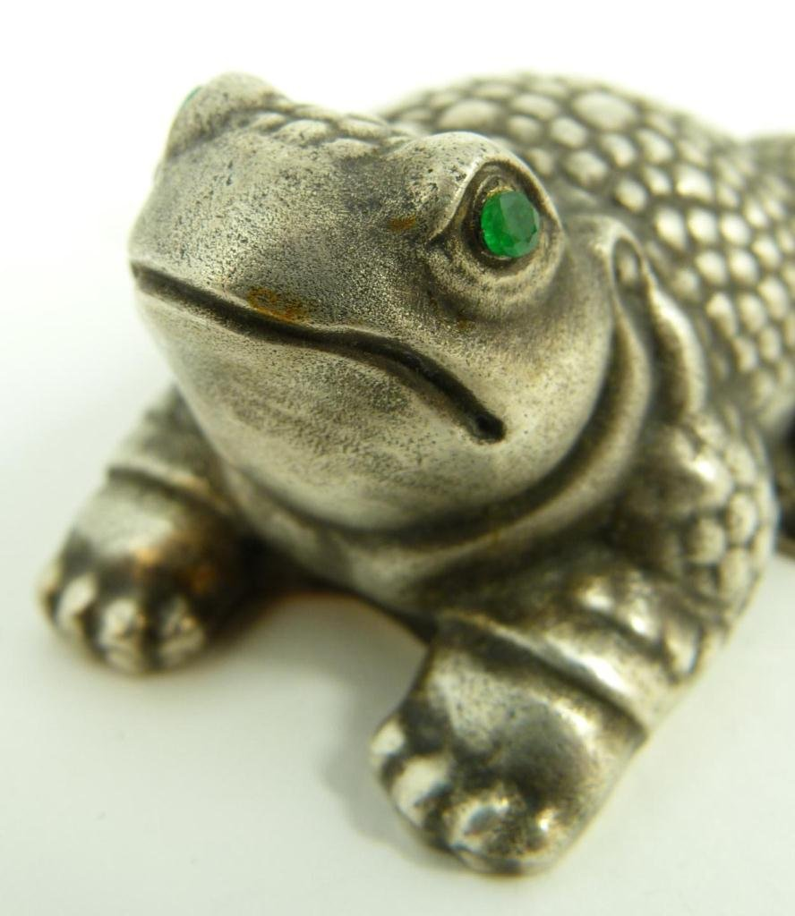 RUSSIAN SILVER JEWELED FROG FIGURINE - 3