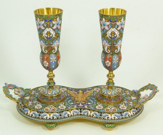 3 PIECE RUSSIAN SILVER ENAMELED TRAY SET
