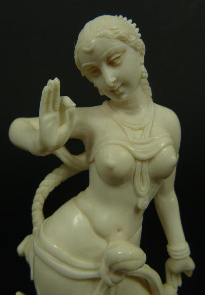 INDIAN CARVED IVORY FIGURE OF DANCING GODDESS - 2