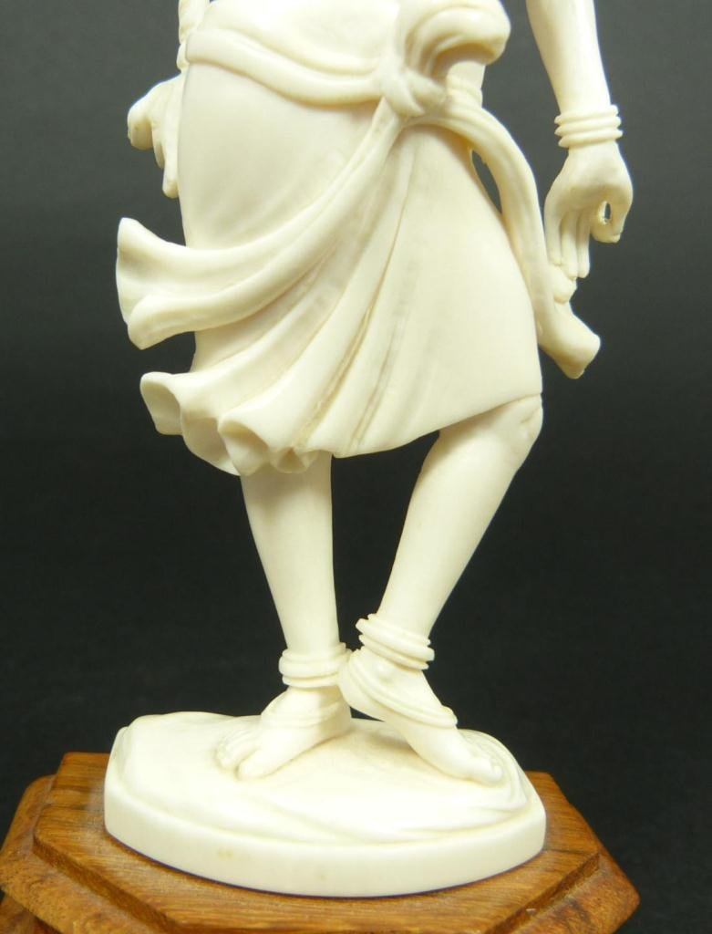 INDIAN CARVED IVORY FIGURE OF DANCING GODDESS - 3