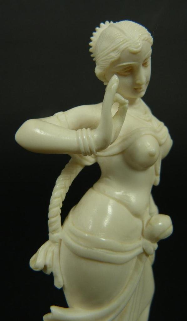 INDIAN CARVED IVORY FIGURE OF DANCING GODDESS - 4