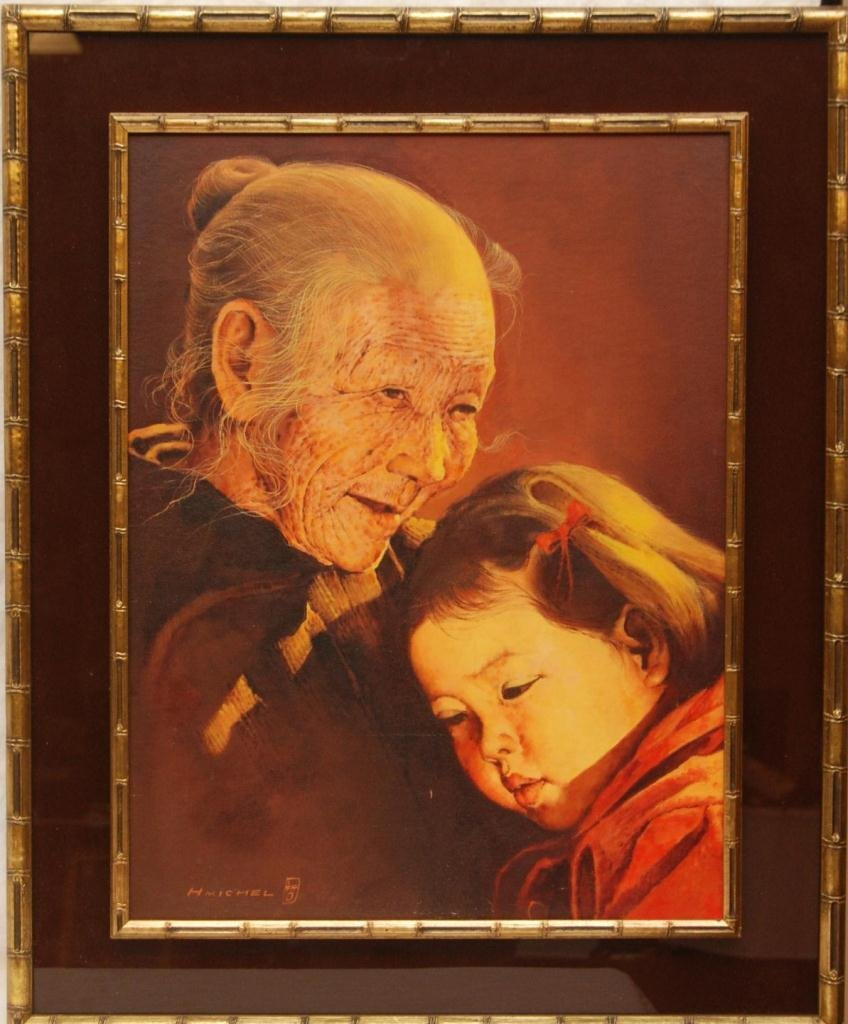H. MICHEL OIL ON CANVAS OF WOMAN AND CHILD - 2